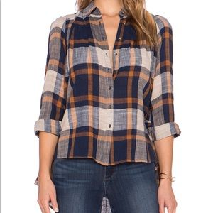 Free People Peppy in Plaid Button Up Top